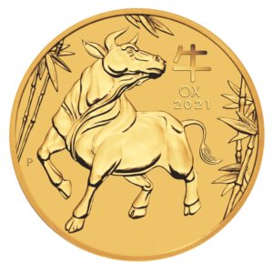 1/10 oz Lunar III Ox Gold Coin (2021)(Front)