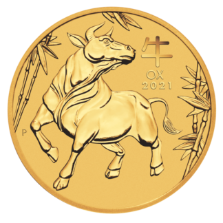 1/2 oz Lunar III Ox Gold Coin (2021)(Front)