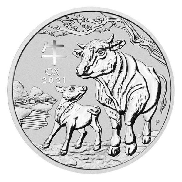 1/2 oz Lunar III Ox Silver Coin (2021)(Front)