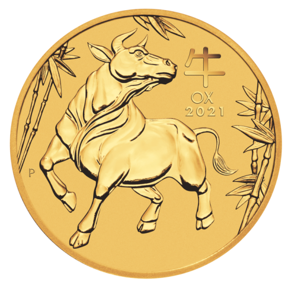 1/20 oz Lunar III Ox Gold Coin (2021)(Front)