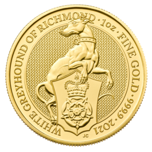1 oz Queen's Beasts White Greyhound of Richmond Gold Coin (2021)(Front)