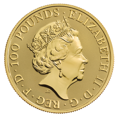 1 oz Queen's Beasts White Greyhound of Richmond Gold Coin (2021)(Back)