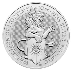 10 oz Queen's Beasts White Lion Silver Coin (2021)(Front)