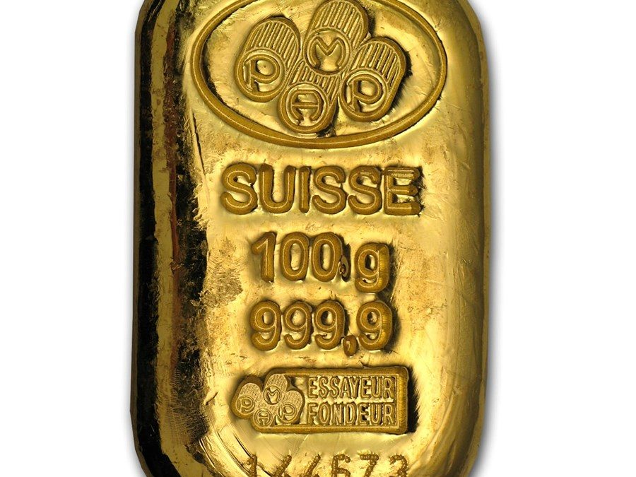 100 gram Gold Bar – PAMP Suisse (Cast, w/Assay)