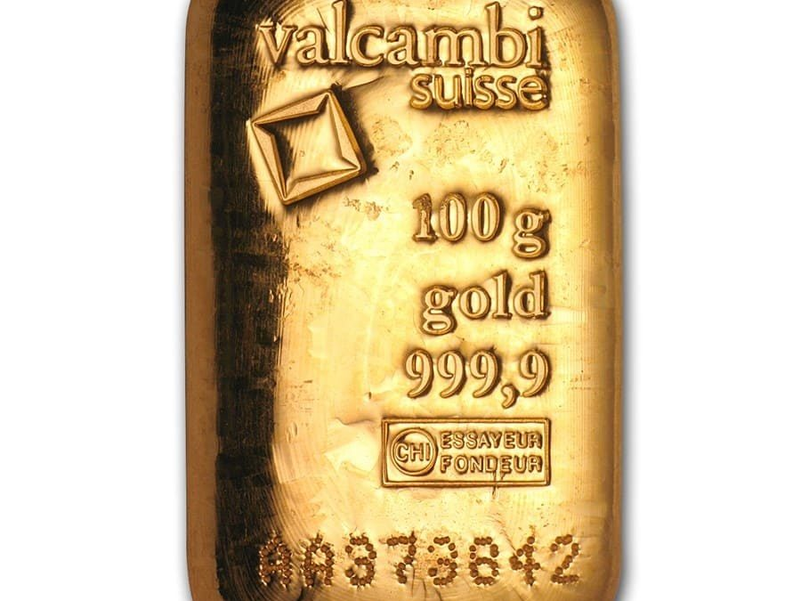 100 gram Gold Bar – Valcambi (Poured w/Assay)
