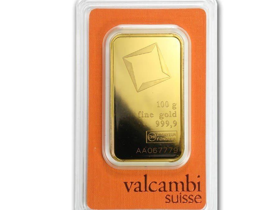 100 gram Gold Bar – Valcambi (Pressed w/Assay)