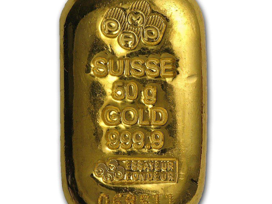 50 gram Gold Bar – PAMP Suisse (Cast, w/Assay)