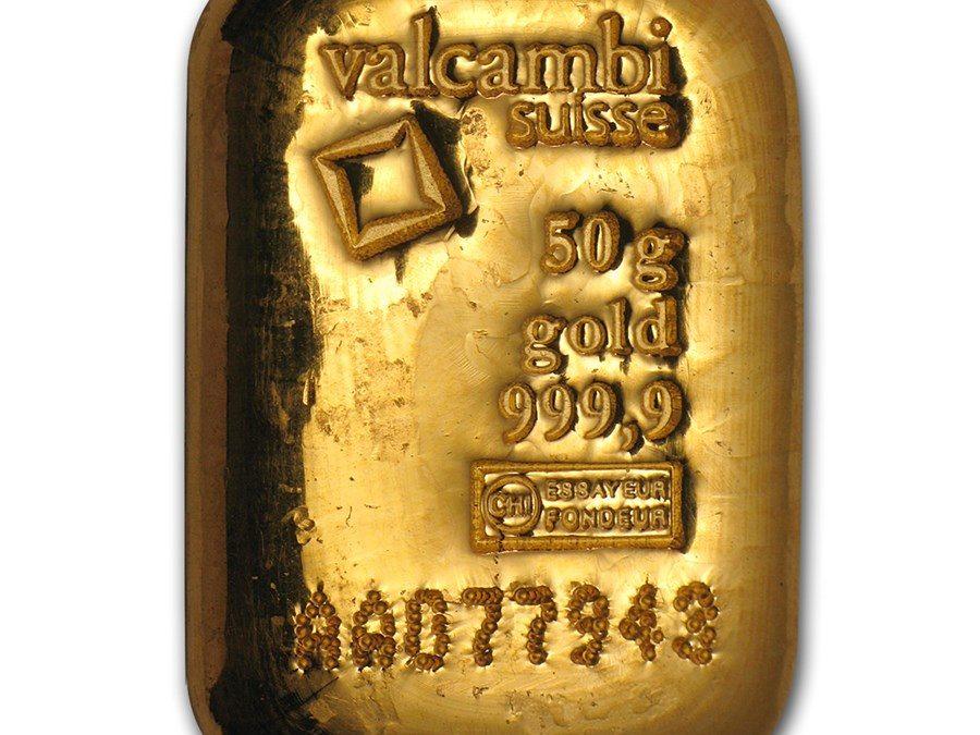 50 gram Gold Bar – Valcambi (Pressed w/Assay)