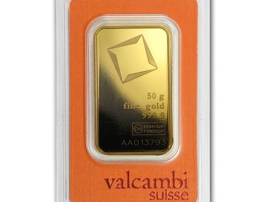 50 gram Gold Bar – Valcambi (Poured w/Assay)
