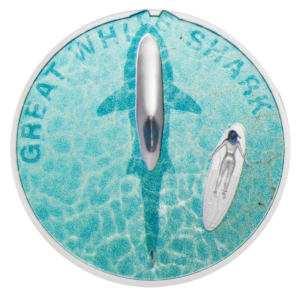 1 oz Great White Shark Silver Proof Coin (2021)(Front)