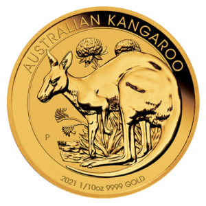 1/10 oz Kangaroo Gold Coin (2021)(Front)
