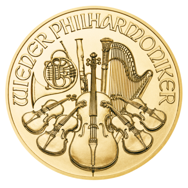 1/10 oz Vienna Philharmonic Gold Coin (2021)(Front)