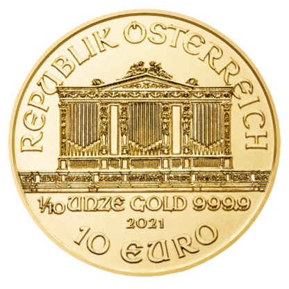 1/10 oz Vienna Philharmonic Gold Coin (2021)(Back)