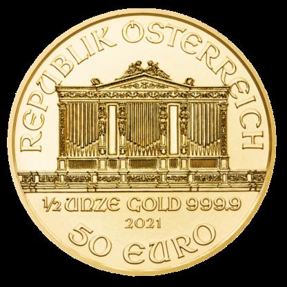 1/2 oz Vienna Philharmonic Gold Coin (2021)(Back)