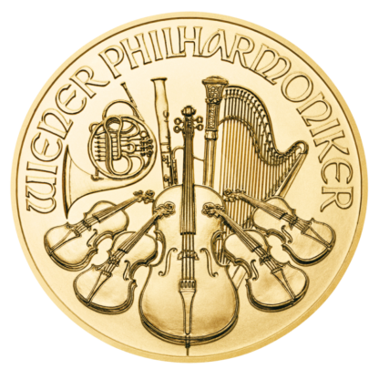 1/4 oz Vienna Philharmonic Gold Coin (2021)(Front)