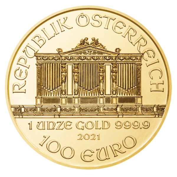 1 oz Vienna Philharmonic Gold Coin (2021)(Back)