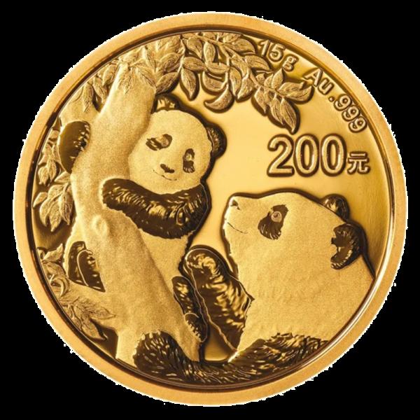15g China Panda Gold Coin (2021)(Front)