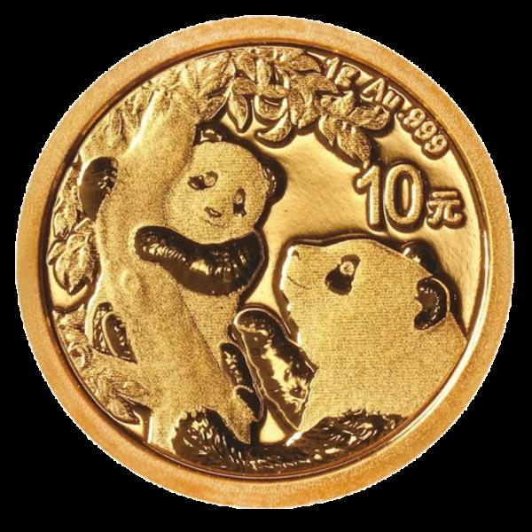 1g China Panda Gold Coin (2021)(Front)