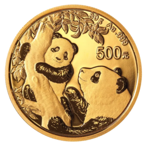 30g China Panda Gold Coin (2021)(Front)
