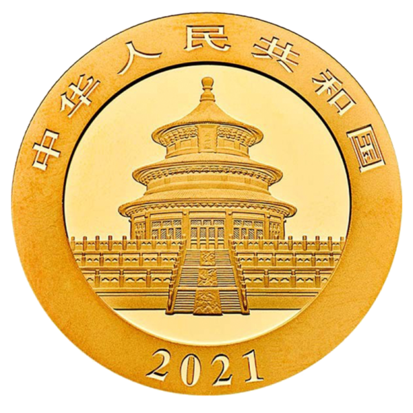30g China Panda Gold Coin (2021)(Back)