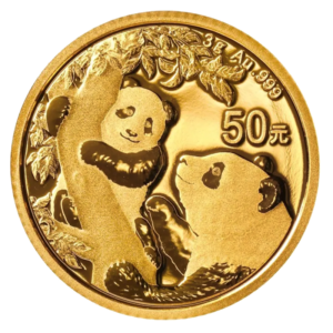 3g China Panda Gold Coin (2021)(Front)
