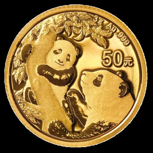 3g China Panda Gold Coin (2021)(Front)