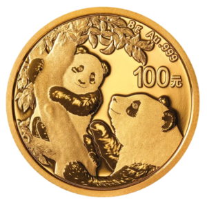 8g China Panda Gold Coin (2021)(Front)