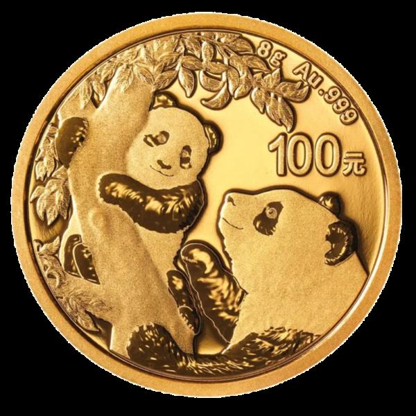 8g China Panda Gold Coin (2021)(Front)