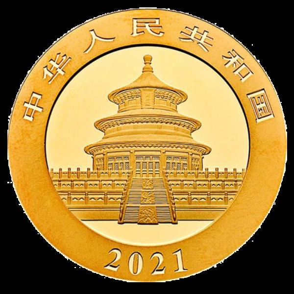 8g China Panda Gold Coin (2021)(Back)