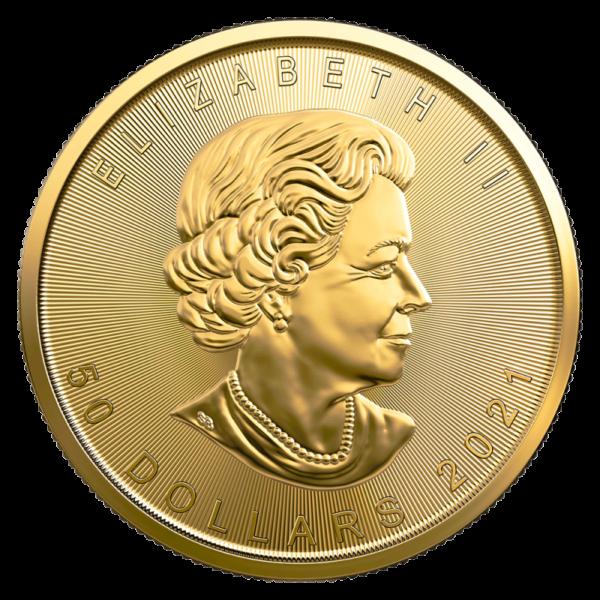 1 oz Maple Leaf Gold Coin (2021)(Back)