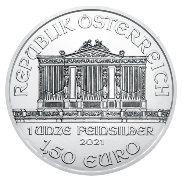 1 oz Vienna Philharmonic Silver Coin (2021)(Front)