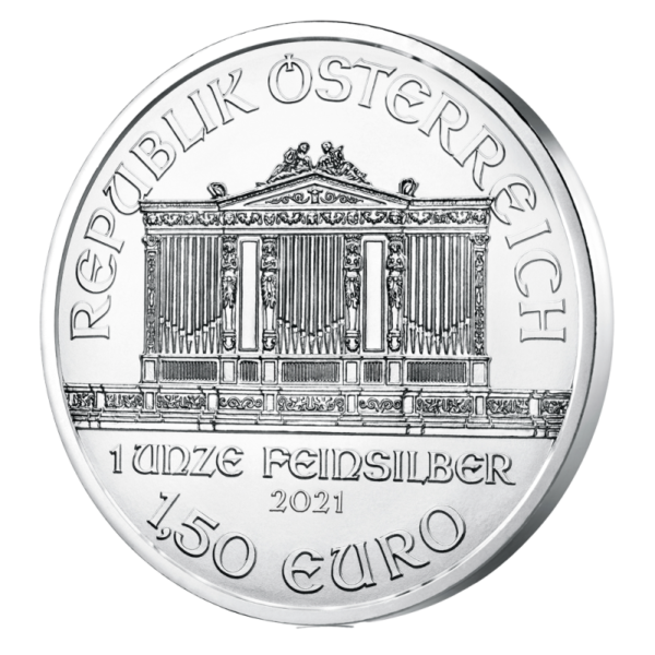 1 oz Vienna Philharmonic Silver Coin (2021)(Back)