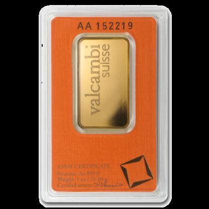 1 oz Gold Bar | Valcambi(Back)