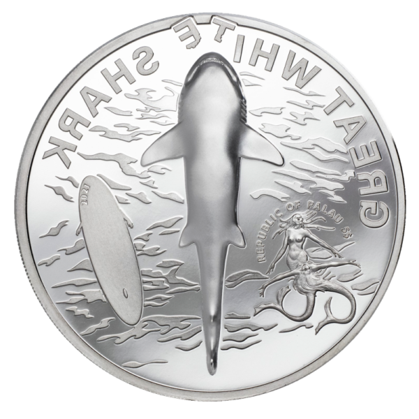 1 oz Great White Shark Silver Proof Coin (2021)(Back)
