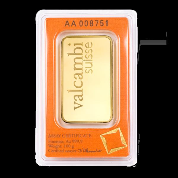 100g Gold Bar | Valcambi(Back)