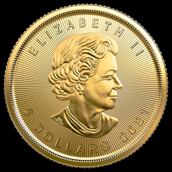1/10 oz Maple Leaf Gold Coin (2021)(Back)