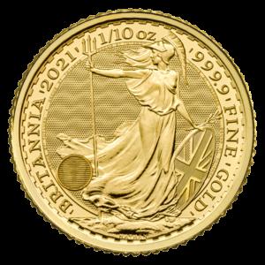 1/10 oz Britannia Gold Coin (2021)(Front)