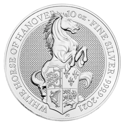 10 oz Queen's Beasts White Horse of Hanover Silver Coin (2021)(Front)