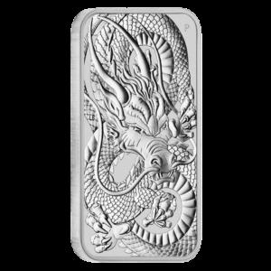 1 oz Dragon Rectangular Silver Coin (2021)(Front)