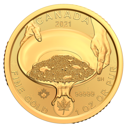1 oz Klondike Gold Rush Panning for Gold .99999 Gold Coin (2021)(Front)