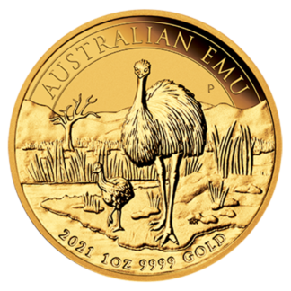 1 oz Perth Mint Emu Gold Coin (2021)(Front)
