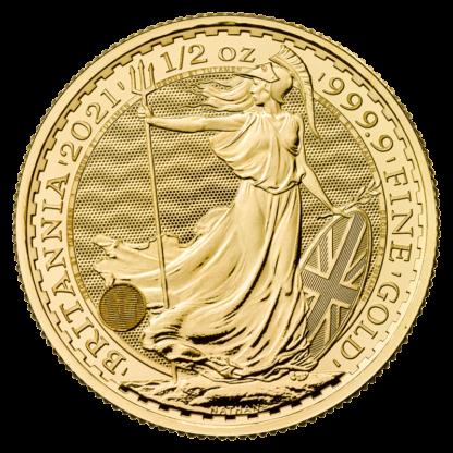 1/2 oz Britannia Gold Coin (2021)(Front)