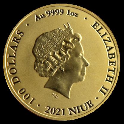 1 oz Gold Bitcoin (2021)(Back)