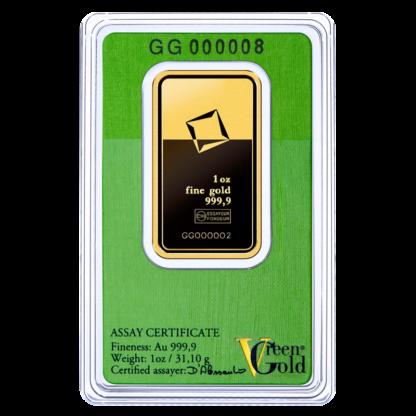 1 oz Gold Bar   Valcambi   Green Gold(Back)