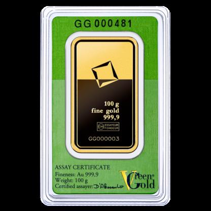 100g Gold Bar | Valcambi | Green Gold(Back)
