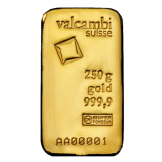 250g Gold Bar | Casted | Valcambi(Front)