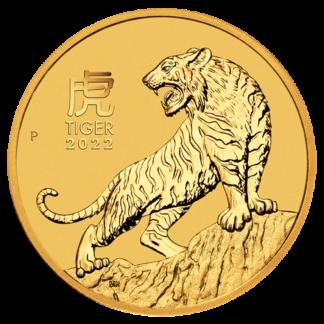 1/10 oz Lunar III Tiger Gold Coin | 2022(Front)