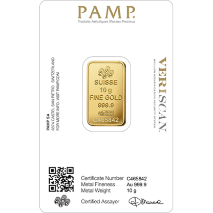10g Gold Bar | PAMP Fortuna(Back)
