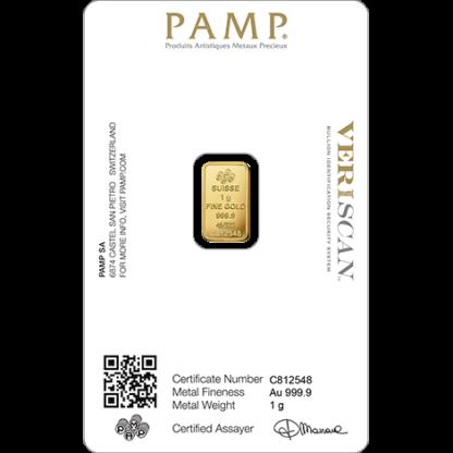 1g Gold Bar   PAMP Fortuna(Back)
