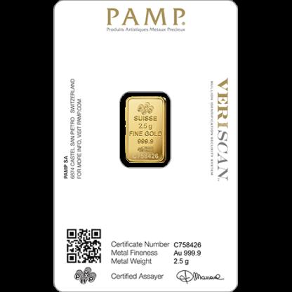 2.5g Gold Bar | PAMP Fortuna(Back)